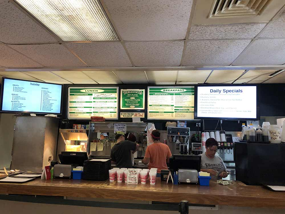 A view of the front ordering counter at Pearly's Famous Country Cooking.